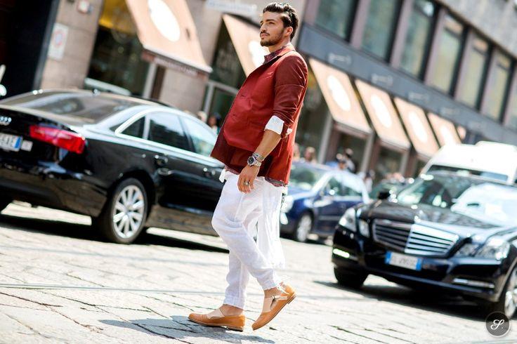 Italian male model Mariano di Vaio on a street style photo taken during Milan Men's Fashion Week Summer 2014.col