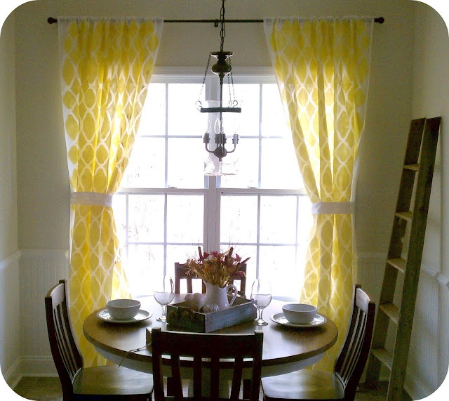 love the stencil-ing on the sheer curtains!: Decor, Stencils Curtains, Colors Crafts, Ideas, Dining Room, Breakfast Nooks, Yellow Curtains, Diy Stencils, Diy Curtains