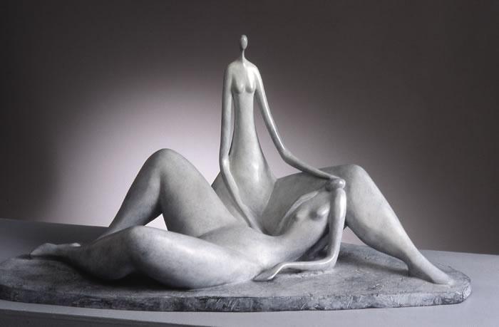 Anne-Marie et Mireille by Marie-Madeleine Gautier 40 x 76 x 34 cm