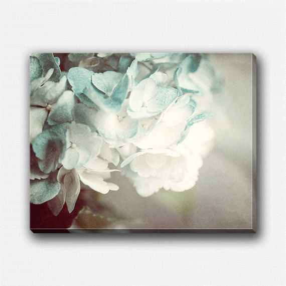Flower Gallery Wrap Canvas, Soft Teal Canvas Art, Flower Canvas, Flower Photography, Cream Grey Soft Blue, Bedroom Decor Canvas Art Print.
