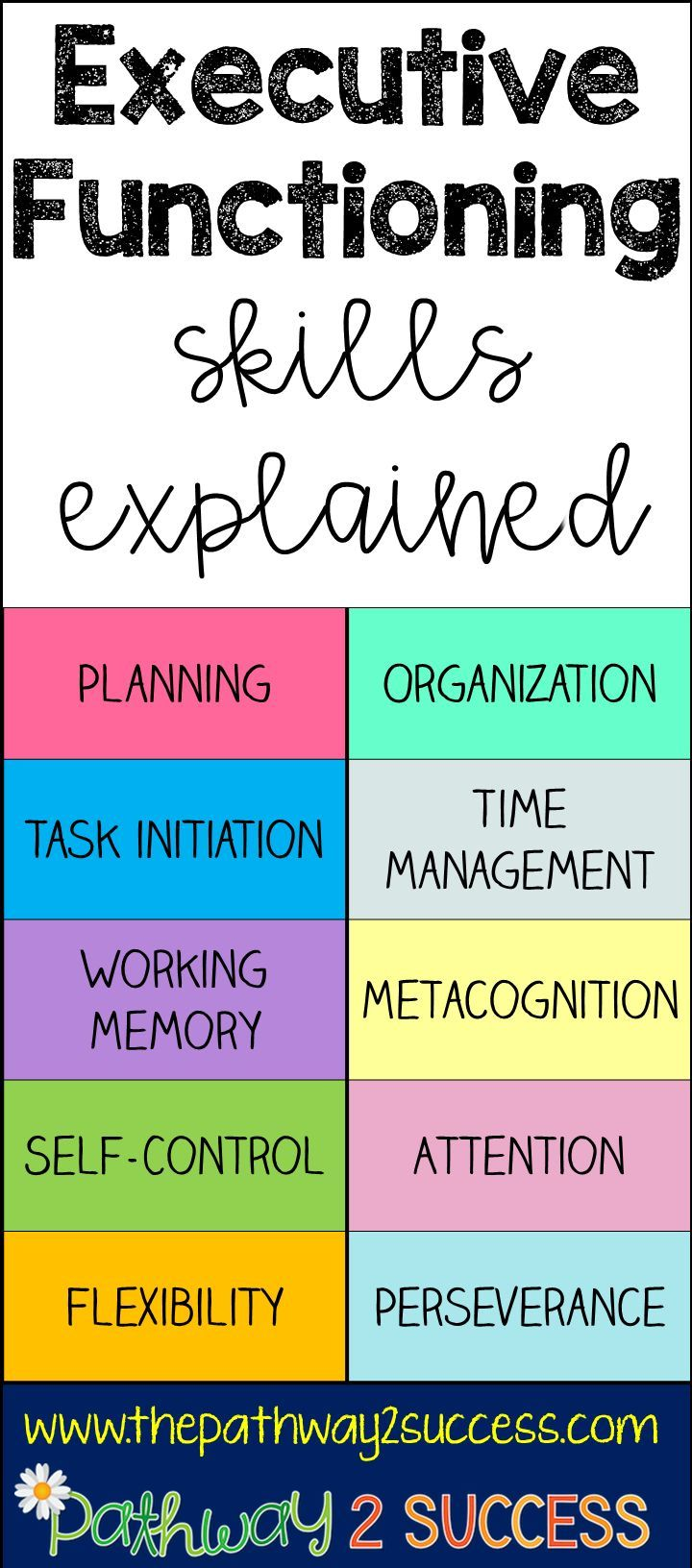 Learn about planning, organization, task initiation, time management, working memory, metacognition, self-control, attention, flexbility, and perseverance. These 10 executive functioning skills can help kids and young adults!