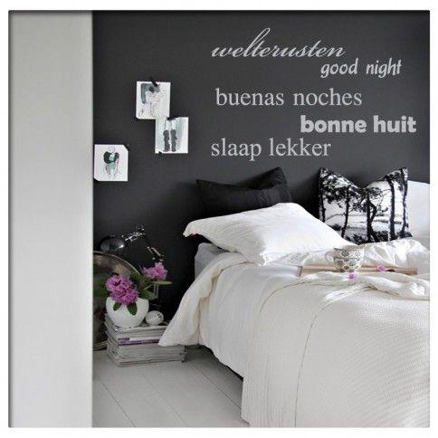 Muursticker Tekst Slaapkamer welterusten   Saynomorewebshop.nl