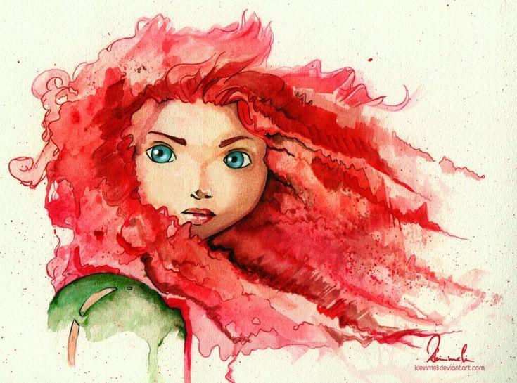 Brave: Tattoo Ideas, Watercolor Paintings, Disney Princesses, Watercolor Tattoo, Watercolors, Fans Art, Princesses Merida, Brave Merida, Water Colors