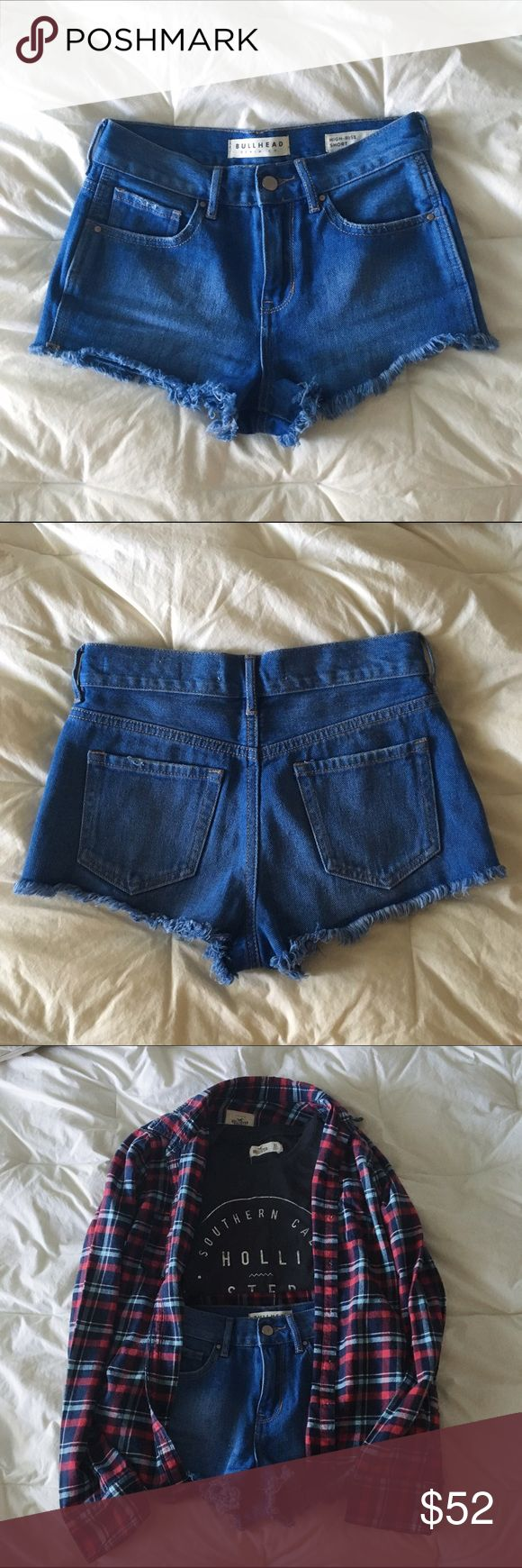 """Blue High Rise Denim Shorts! high rise denim shorts from Pacsun, selling because I never really wear them! Wore maybe once! Purchased them from Pacsun & tag says it's from """"Bullhead"""" Denim Co.! (price is negotiable) PacSun Shorts Jean Shorts"""