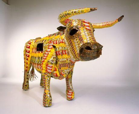 Christchurch Art Gallery article relating to 237. Pisupo Lua Afe (Corned Beef 2000). Michel Tuffery. 1994 C.E. Mixed media.