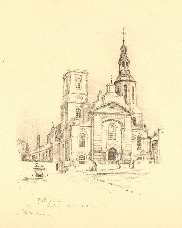 Bertram Grosvenor Goodhue, Architect (1869-1924) The Basilique, Quebec. Pencil Sketch.