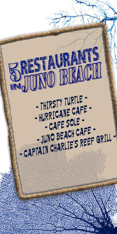 Restaurants in Juno Beach, FL. 1. Thirsty Turtle, 2. Hurricane Cafe, 3. Cafe Sole, 4. Juno Beach Cafe, 5. Captain Charlie's Reef Grill http://www.waterfront-properties.com/blog/great-restaurants-in-juno-beach.html #junobeach #junobeachfl #junobeachdining #junobeachrestaurants #restaurant #dining #junobeachlifestyle #junobeachgolf #junobeachflorida