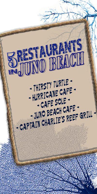 Restaurants in Juno Beach, FL. 1. Thirsty Turtle, 2. Hurricane Cafe, 3. Cafe Sole, 4. Juno Beach Cafe, 5. Captain Charlie's Reef Grill http://www.waterfront-properties.com/blog/great-restaurants-in-juno-beach.html #junobeach #junobeachfl #junobeachdining #junobeachrestaurants #restaurant #dining #junobeachlifestyle #junobeachgolf #junobeachflorida