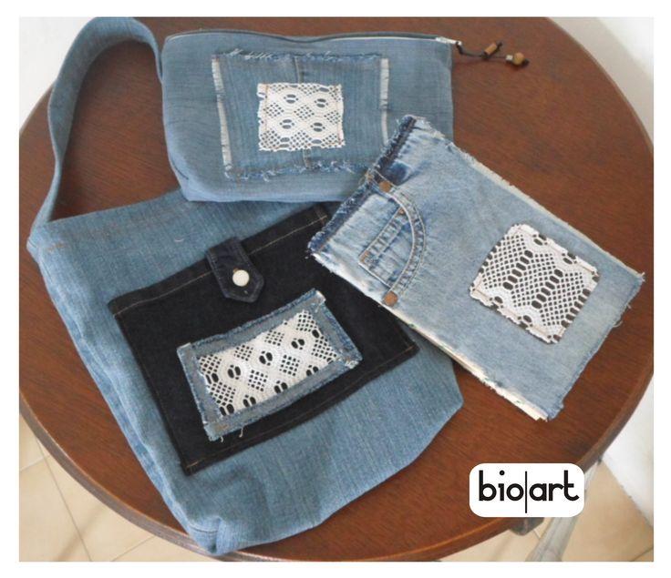 Bolso, cartuchera y cuaderno, en combo de Jeans