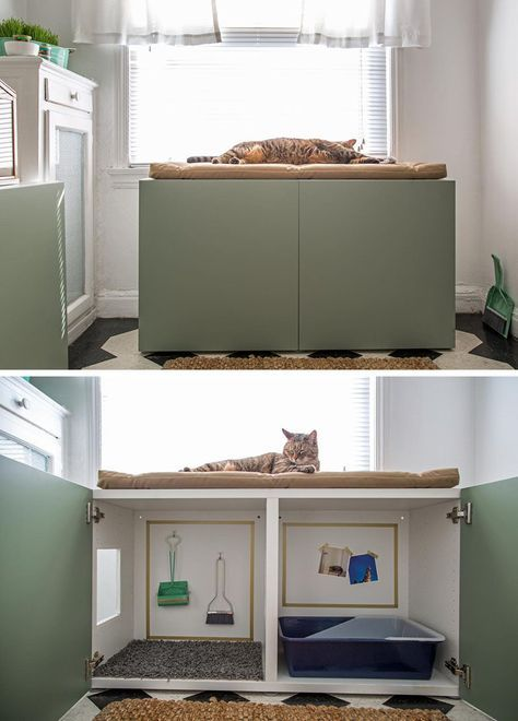 10 Ideas For Hiding Your Cats Litter Box // Turn a cabinet into a contemporary place for your cat to do its business