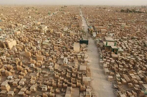 This is not a city. It's a cemetery. Najaf, Iraq.