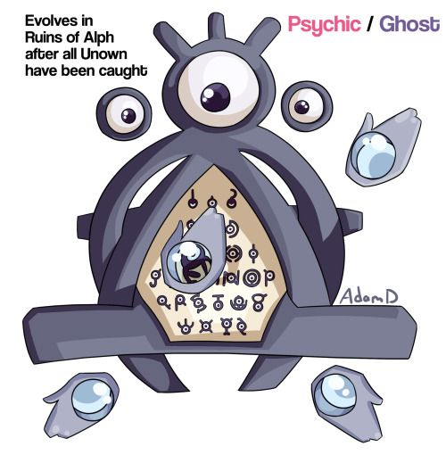 Day 97: Psychic/Ghost Unown -> Renownd Unown remains a mystery to even the most devoted Pokémon researchers. Pathetically weak on its own and only capable of releasing a small burst of random elemental energy, there are some who theorize that it is...