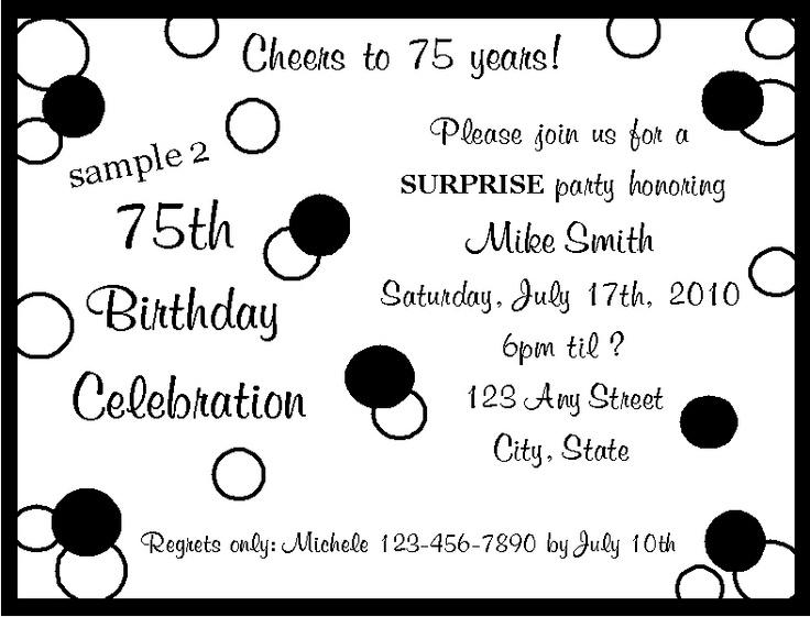 17 b sta bilderna om 75th Birthday Party Ideas p Pinterest – 75th Birthday Party Invitations