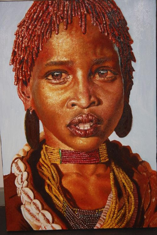 Realistic portrait painting by South African artist Loyiso Mzike