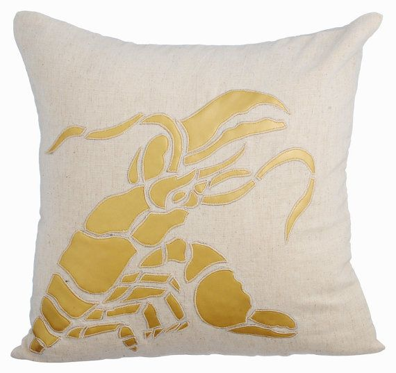 Gold Lobster - 16x16 Gold Leather Applique Natural Linen Pillow Cover.