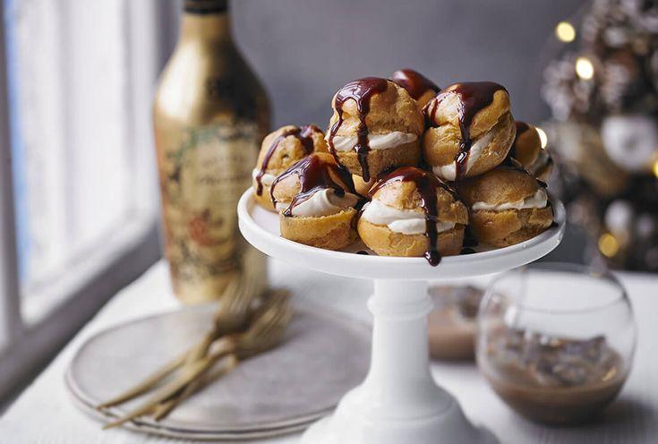 Profiteroles with Baileys Cream & chocolate sauce