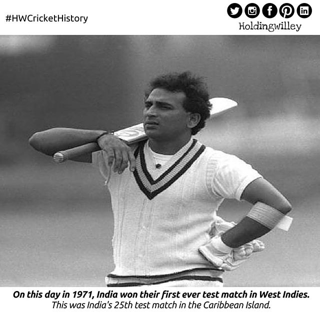 March 10, 1971.   The 1970/71 series between India and West Indies is also known for the 'Rise of Sunil Gavaskar' in World Cricket!