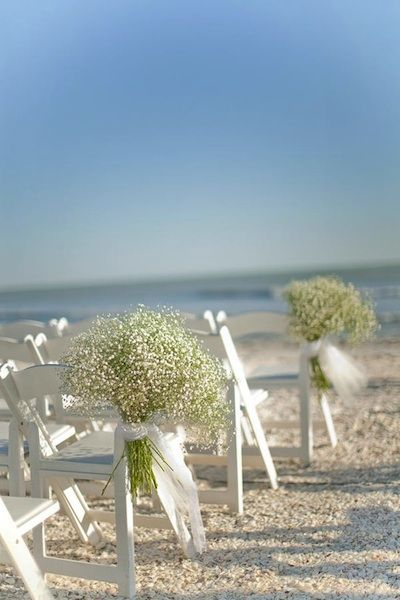 Baby's Breath & Beach Chairs! Beautiful, affordable and the perfect flower for a beach wedding!: Pew Markers, Floral Design, Weddings Flower, Aisle Markers, Baby Breath, Aisle Decoration, Beaches Weddings, Idea Weddings, The Beaches