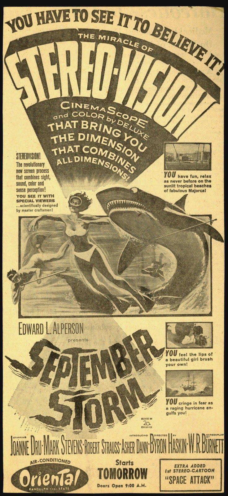 SEPTEMBER STORM (1960) - Shot in 3-D - Joanne Dru - Mark Stevens - Robert Strauss - Asher Dann - Directed by Byron Haskin - 20th Century-Fox - Newspaper Ad.