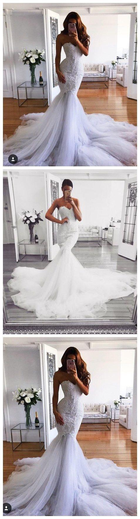 #fashion #style #shopping #love #appliques #tulleskirt #sweetheart  #weddingdresses #bridal #bridalhair #bridalgown #bridalmakeup #pure #autumn #Sheath #Mermaid #sheathdress  Sweetheart Neck Sheath Mermaid Wedding Dresses, Appliques Sweep Train White Dresses ASD26731