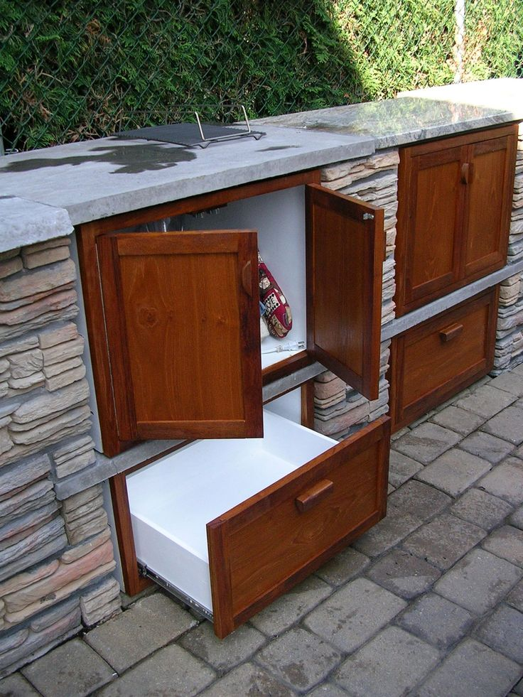 Remarkable Teak Outdoor Kitchen Cabinets With Side Mount Cabinet Drawer  Slides And Concrete Kitchen Countertops Diy