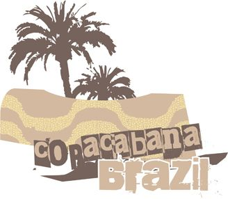 Text Copacabana Brazil in coconuts background royalty free image vector art for printing on t-shirts.
