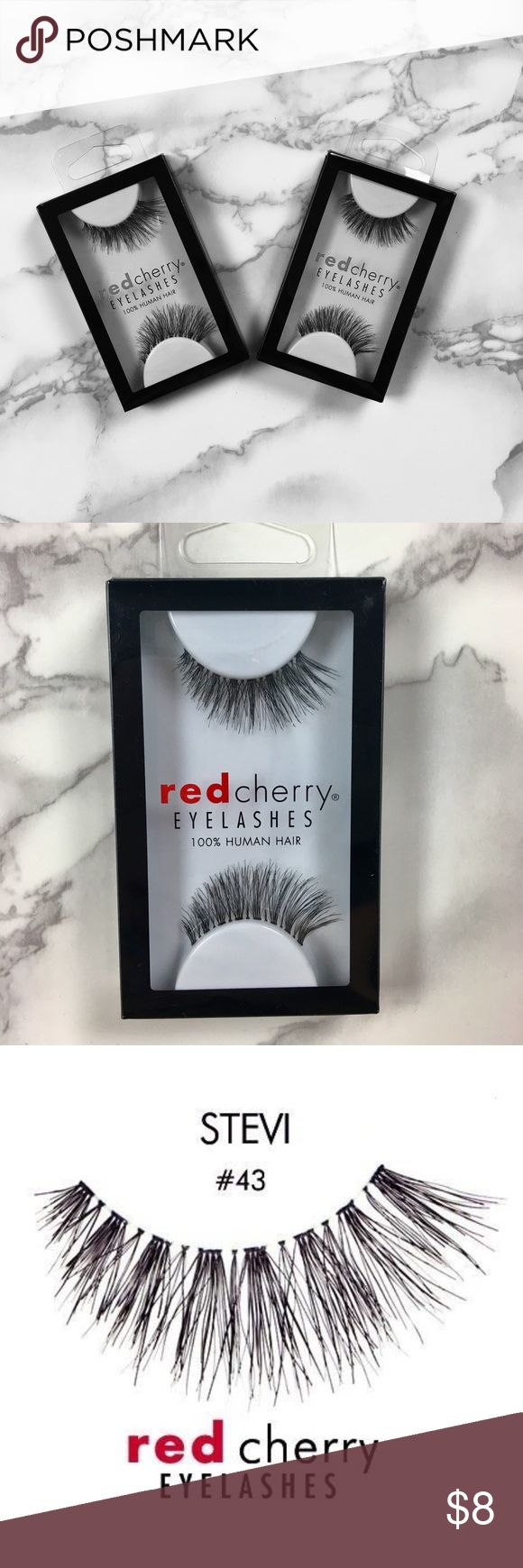 (2 packs) RED CHERRY LASHES #43 STEVI #43 - Stevi Lashes by Red Cherry  Full, swoop, wispy lashes.  Enhance your natural beauty with flawless stealth.  How To Use: These lashes are reusable if properly cared for. Carefully clean after each use by removing the glue with your fingers or tweezers.  Additional Information:  100% Human Hair Cruelty-Free Latex Free Handmade Lightweight Comfortable  Band: 28 mm Lash Length: 15 mm red cherry lashes Makeup False Eyelashes
