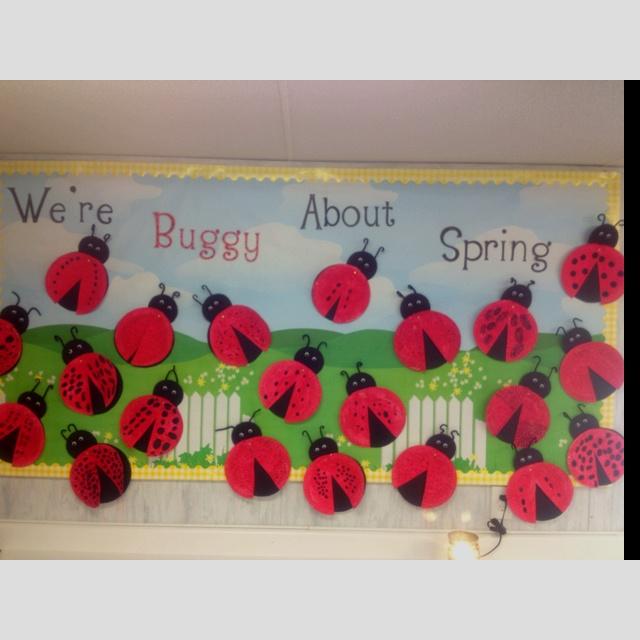 Bulletin board for ladybug unit
