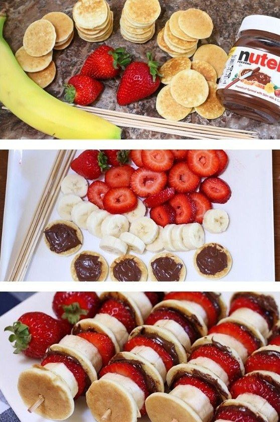 Mini Pancake Kebabs with Nutella | 19 Glorious Ways To Eat Nutella For Breakfast