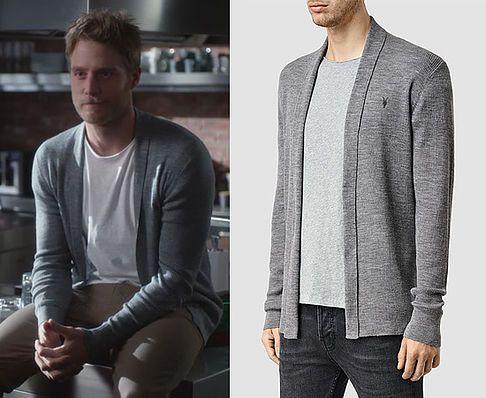 "Brian Finch (Jake McDorman) wears an AllSaints Mens Mode Merino Open Cardigan in the color Grey Marl in Limitless Season 1 Episode 6 ""Side Effects May Include..."""