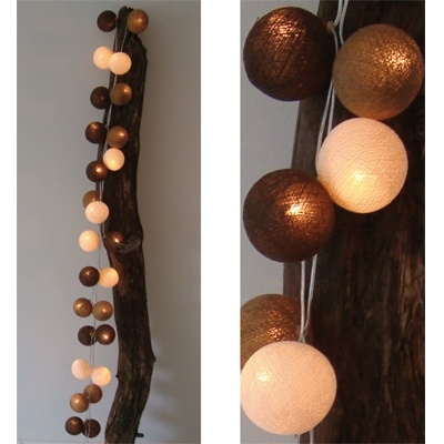 Lichtslinger Bruin 35 bollen - Cotton Ball Lights