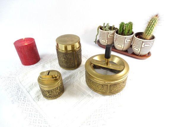 Antique Smoking Set - Erhard und Söhne - Brass Roulette Ashtray - Brass Cigarette Dispenser - Brass Table Lighter - Hollywood Regency