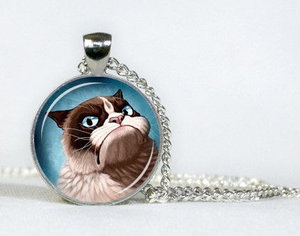 Grumpy Cat pendant . Necklace. Gifts for her. Gifts for him.