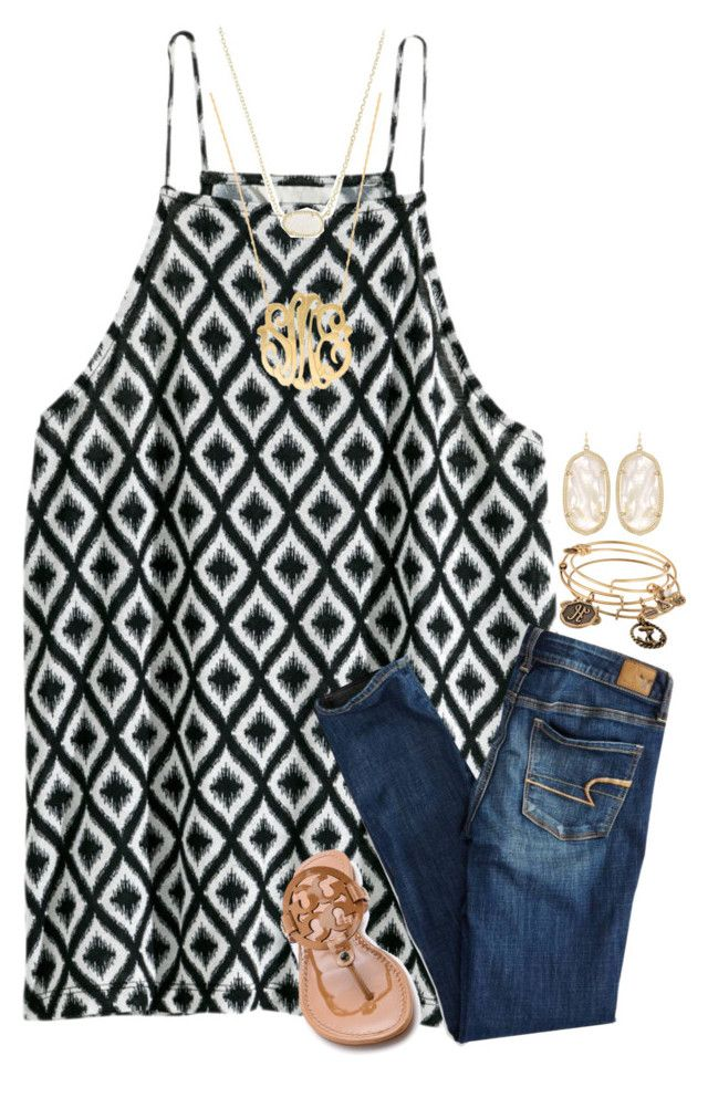 """{not sure about this one...}"" by preppy-southern-girl-1-2-3 ❤ liked on Polyvore featuring H&M, American Eagle Outfitters, Tory Burch, Alex and Ani, Kendra Scott and Moon and Lola"