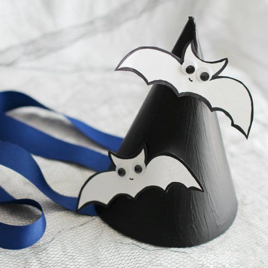 Make your very own Batty Witch Party Hats - so much fun to make and wear at your kids Halloween spooky gathering