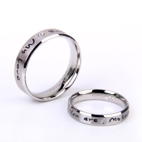 "Stainless Steel Couples Ring With Cubic Zirconia CZ Accent ""You're my love"" - Mens Size 7 Forever,http://www.amazon.com/dp/B0073XT33M/ref=cm_sw_r_pi_dp_LvoWrb8582724A93"