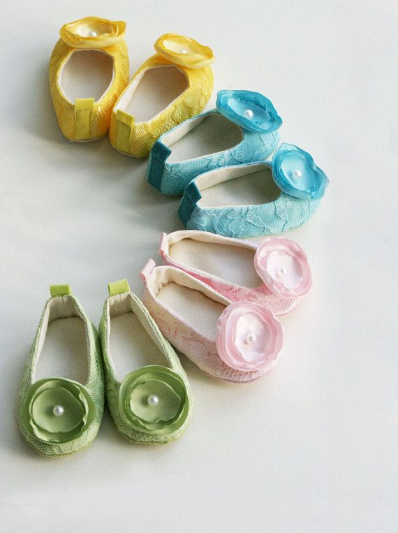 Easter Shoes - Ballet Slipper Baby Shoes - Green, Pink, Turquoise & Yellow Lace and Satin - Sizes 1 to 5 - Baby Souls Couture Baby Shoes