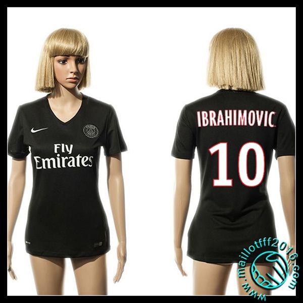 Etoile Maillots PSG (IBRAHIMOVIC 10) Femme Troisième 2015/16 pas cher