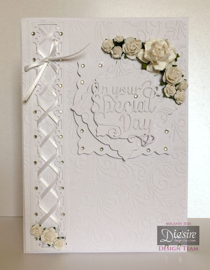 Mel Jess Gemini Create-a-Card  Special Day - White Card - Die'sire Classiques: Evie - White A4 Card - Embossing Folder: Vintage Floral - Die'sire Dies: Decorative Frames 1, Only Words On Your Special Day - Gems, Ribbon, Mulberry Flowers - Collall Tacky Glue -  Collall 3D Glue Gel - Red Liner Tape - #crafterscompanion