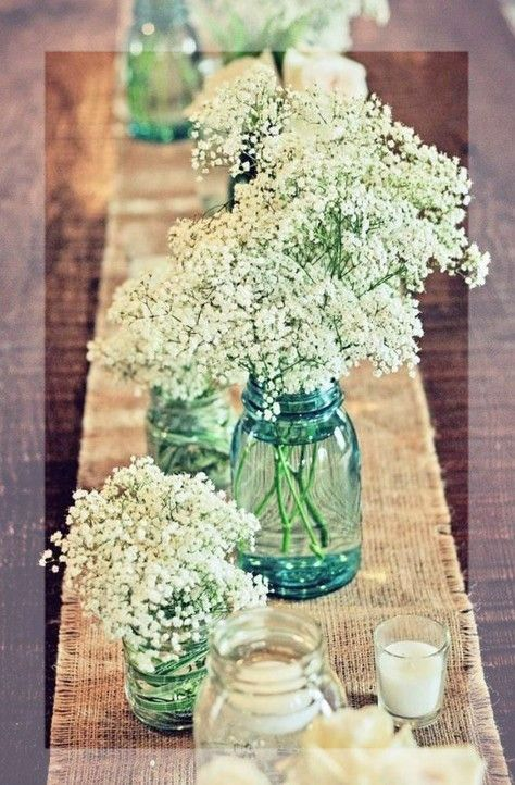 Love The Burlap Runner And Plain Baby S Breath In Mason Jars Summer Wedding Glitter Jar Table Decor
