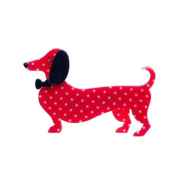 """Erstwilder Limited Edition Spiffy the Sauage Dog red polka dot resin brooch. """"The long and short of it is this: who doesn't look spiffy when sporting a bow tie like that?"""""""