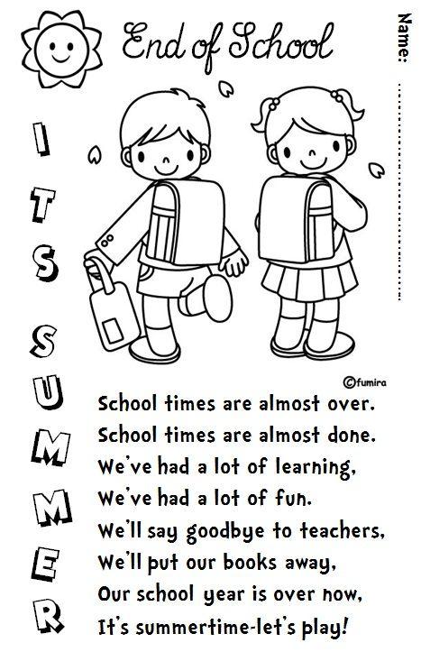 Enjoy Teaching English: END OF SCHOOL (poem) | Literacy ...