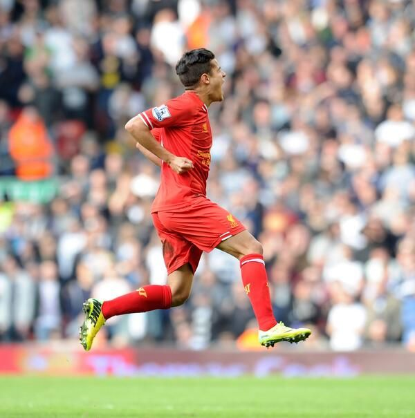 Philippe Coutinho celebrates after another excellent performance. #LFC #MakeUsDream