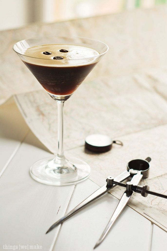 Pour this cocktail into a martini glass and top it with 3 coffee beans. The bartender told me that they were for luck, happiness and….well I can't remember what the third thing was but …