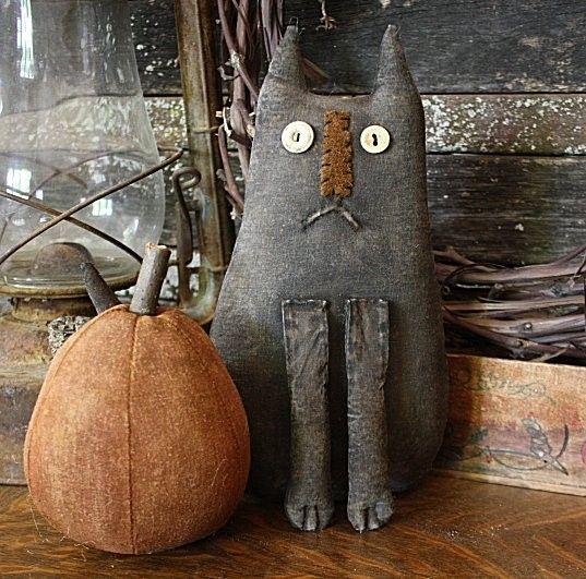 Primitive Halloween Whimsical Felix Cat Doll and Pumpkin Gathering