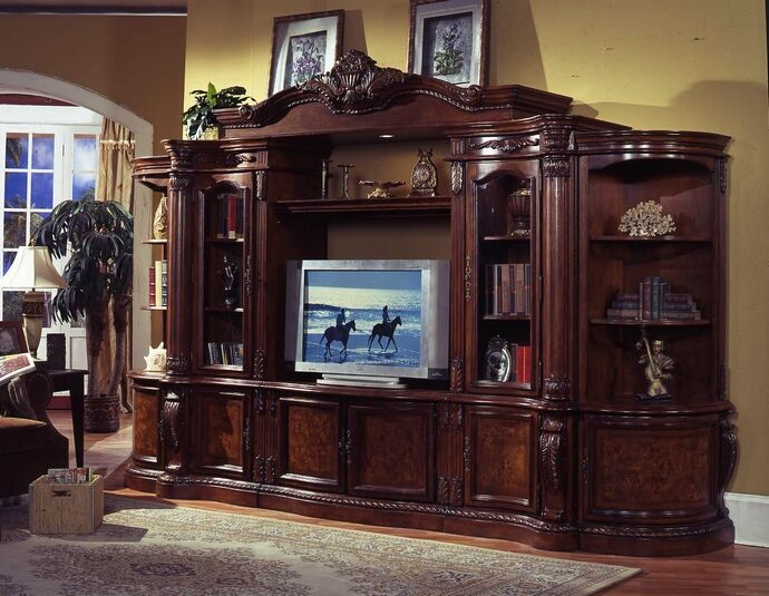 6 Pc Medium Finish Wood Entertainment Center Wall Unit With Carved Accents And Burl Design With