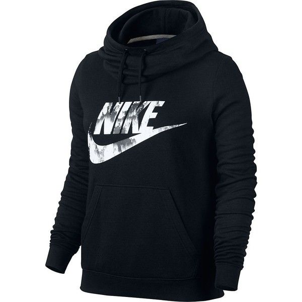Women's Nike Sportswear Funnel Neck Hoodie ($55) ❤ liked on Polyvore featuring tops, hoodies, grey, long sleeve hoodie, nike hoodies, grey hooded sweatshirt, print hoodie and gray hoodie