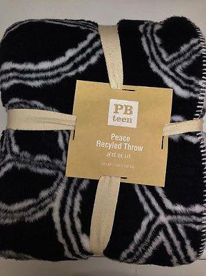 NWT Pb Teen Peace Recycle Throw Black  White Girl's Room GIFT Birthday