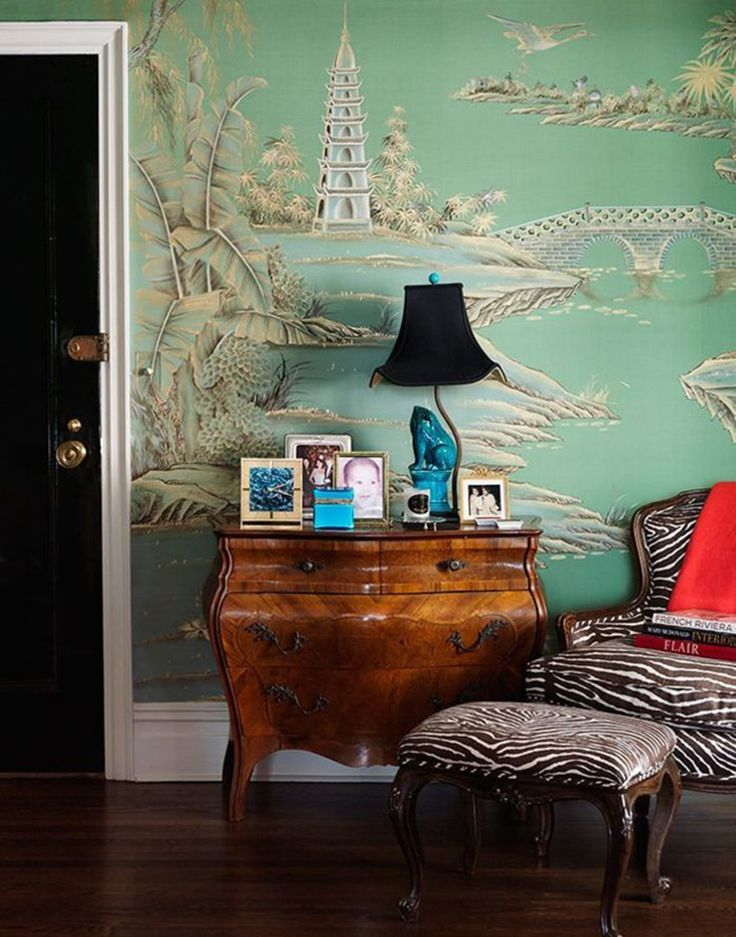 If you're totally into this trend, why not cover your walls in chinoiserie wallpaper? It will make rooms look quite original. Find great wallpaper at deGournay.com