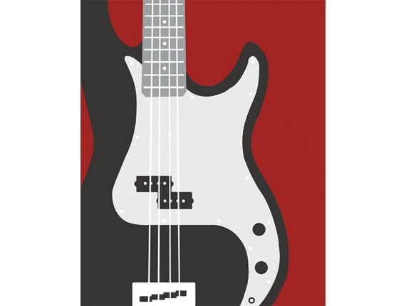 Bass guitar modern music room decoration available by nevedobson